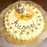 Pastel de aniversario de la boda